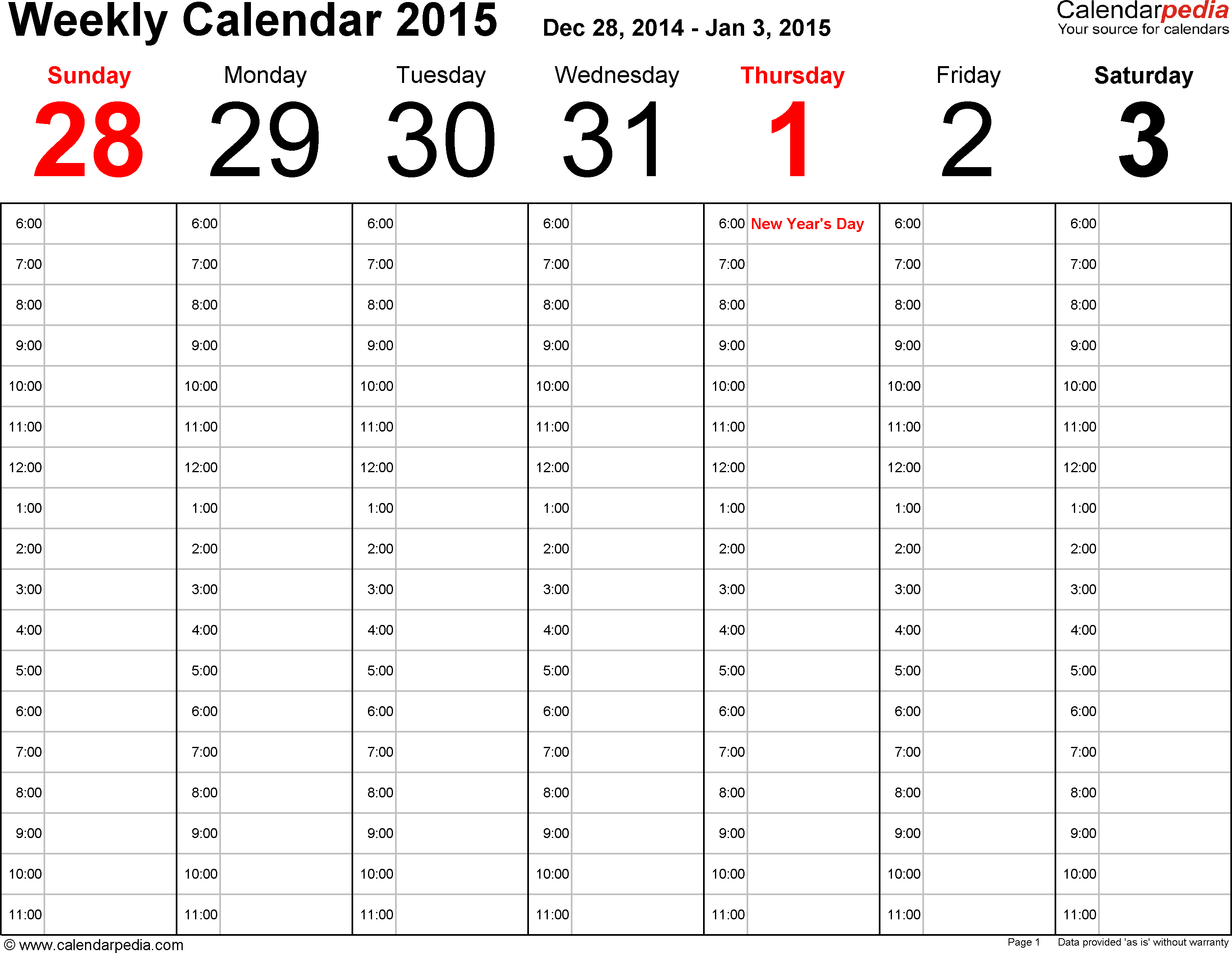 Weekly calendar 2015: template for Excel version 1, landscape, 53 pages, time management layout (18 hours per day, 6am to 11.59pm)