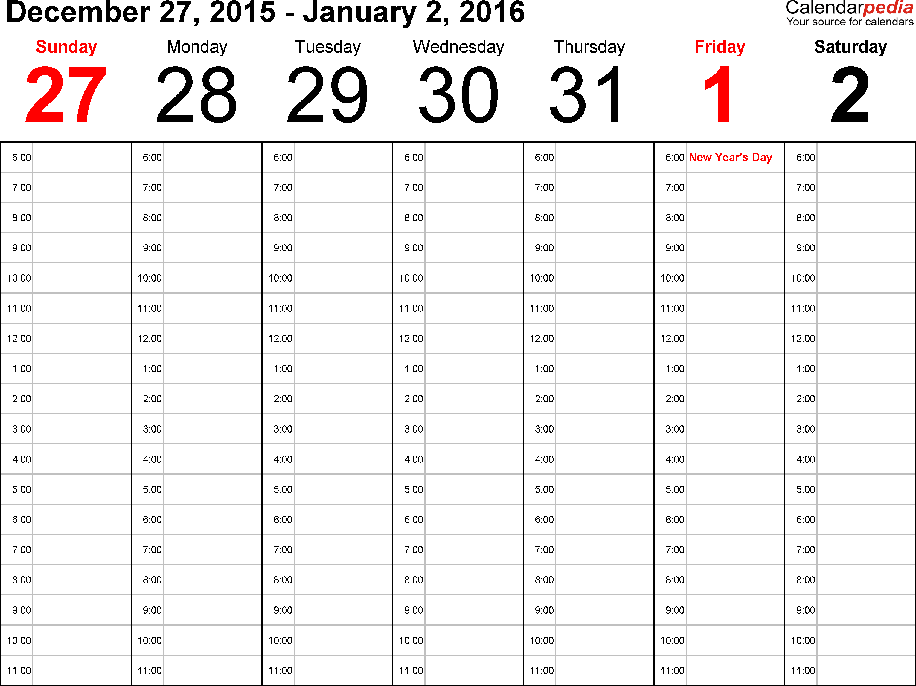 Weekly calendar 2016 for Excel 12 free printable templates – Numbers Templates Free