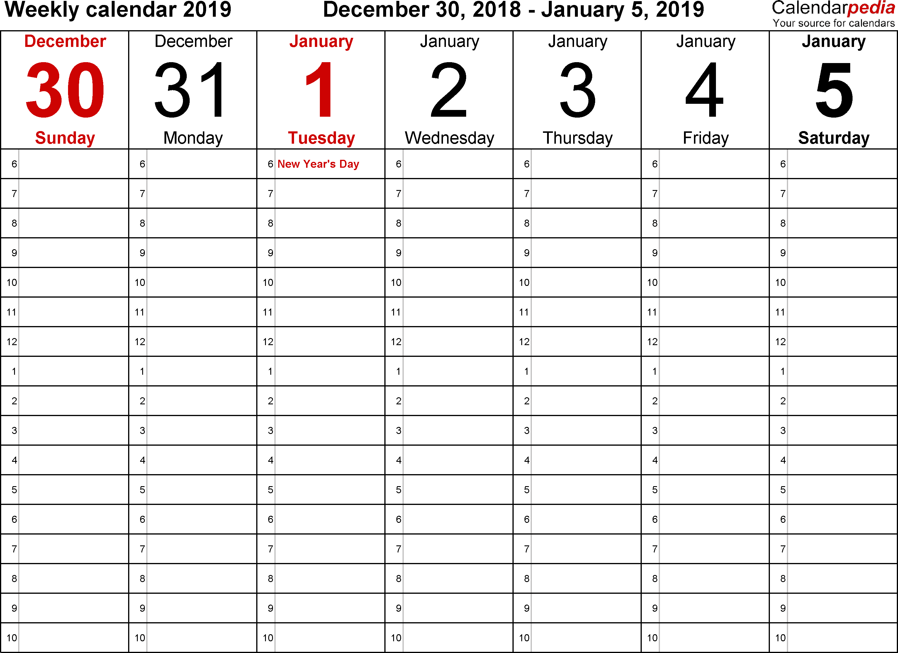 Weekly calendar 2019: template for Excel version 1, landscape, 53 pages, time management layout (18 hours per day, 6am to 11.59pm)