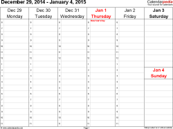 Weekly calendar 2015: template for Word version 4, landscape, 53 pages, Saturday & Sunday share one column