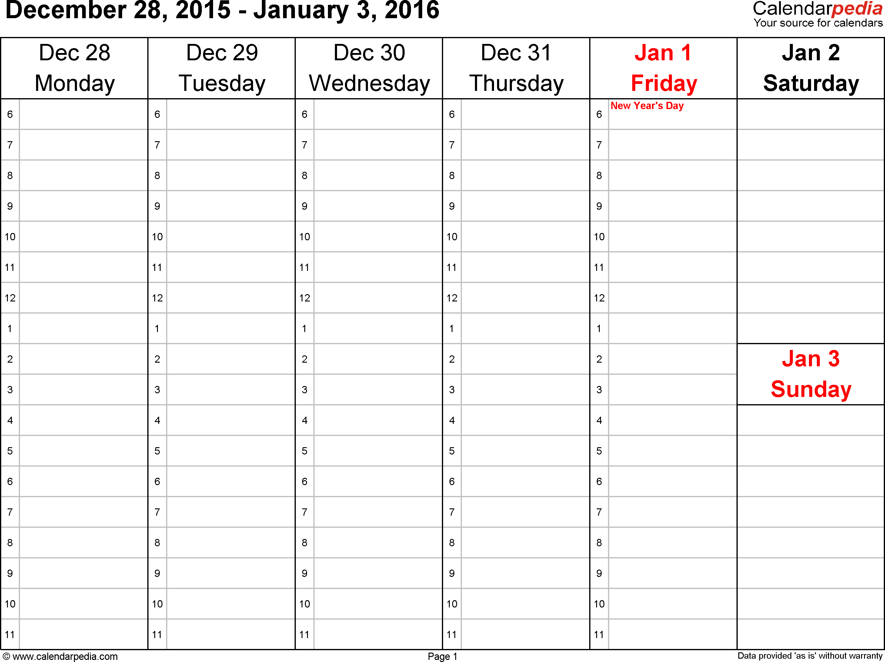 Weekly calendar 2016: template for PDF version 4, landscape, 53 pages, Saturday & Sunday share one column