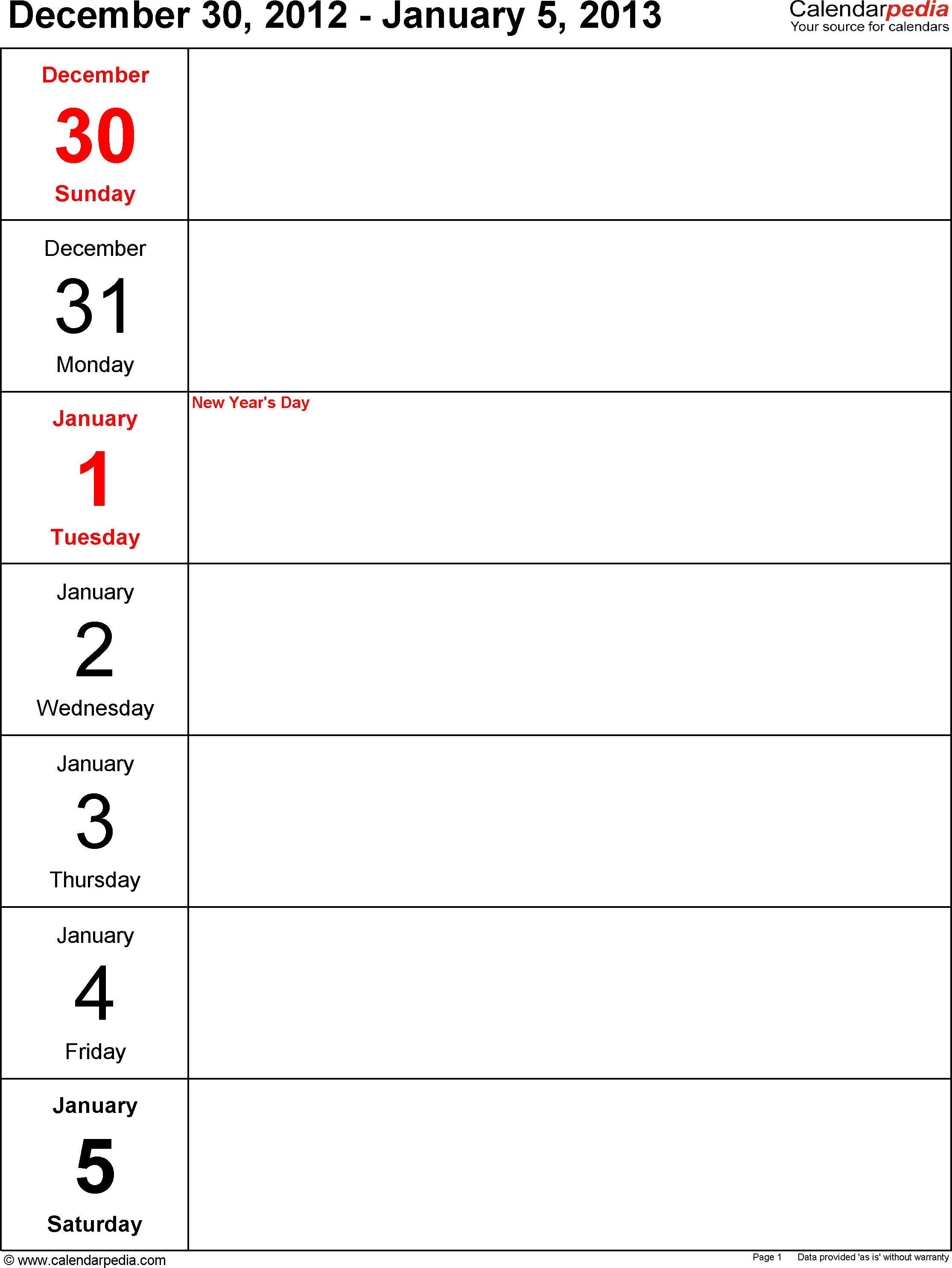 Weekly calendar 2013: template for PDF version 4, portrait, 53 pages, days vertically, great for a weekly diary