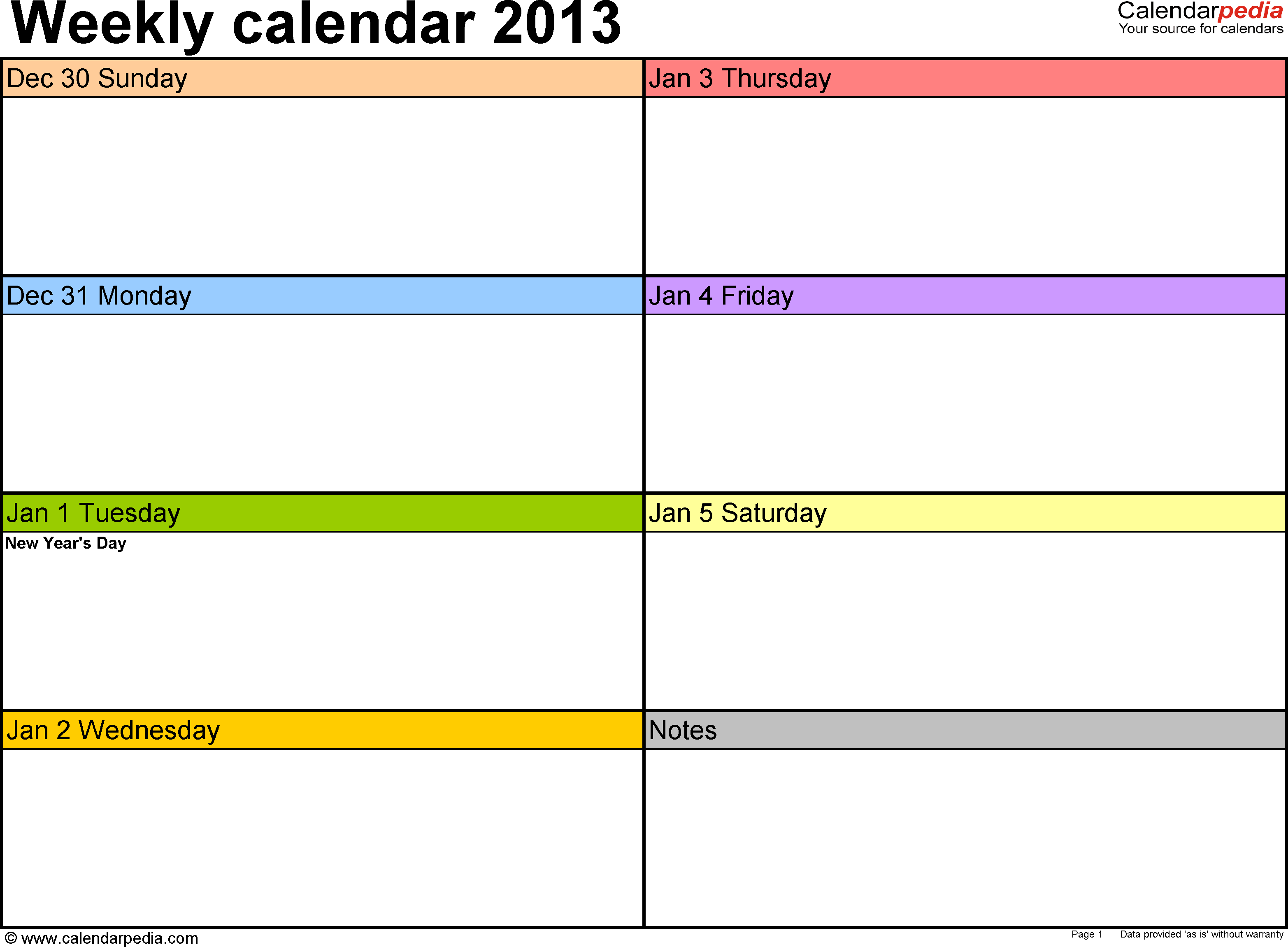 Weekly calendar 2013: template for Excel version 2, landscape, 53 pages, in color, week divided into 2 columns (7 days and one field for notes)