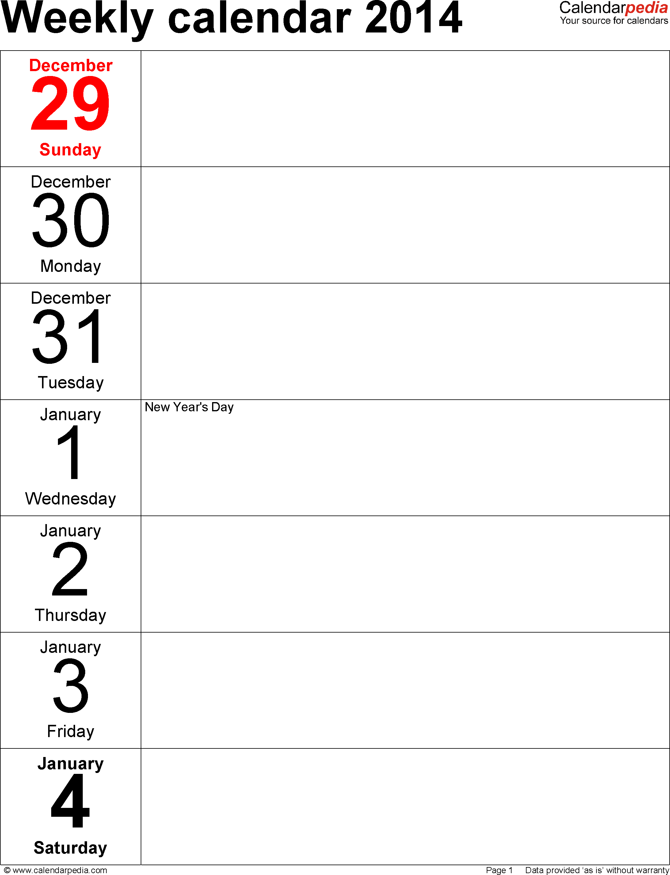 Weekly calendar 2014: template for Word version 4, portrait, 53 pages, days vertically, great for a weekly diary