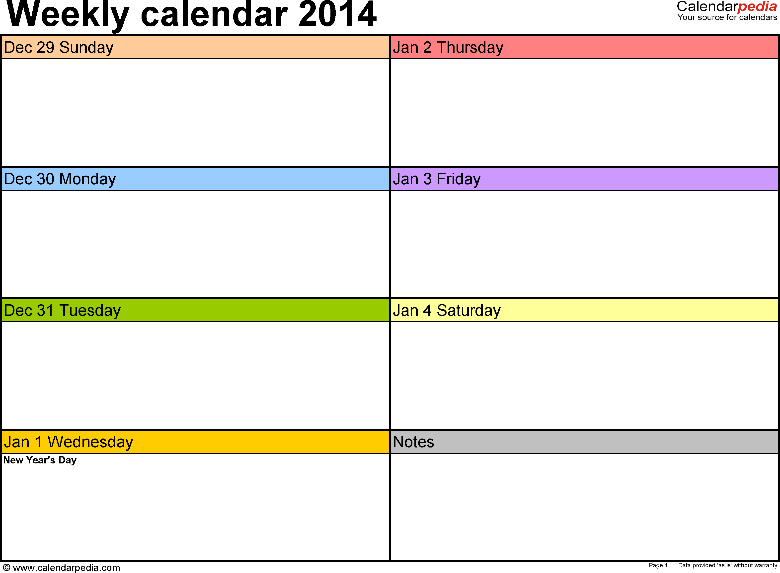 Weekly calendar 2014: template for Word version 2, landscape, 53 pages, in color, week divided into 2 columns (7 days and one field for notes)