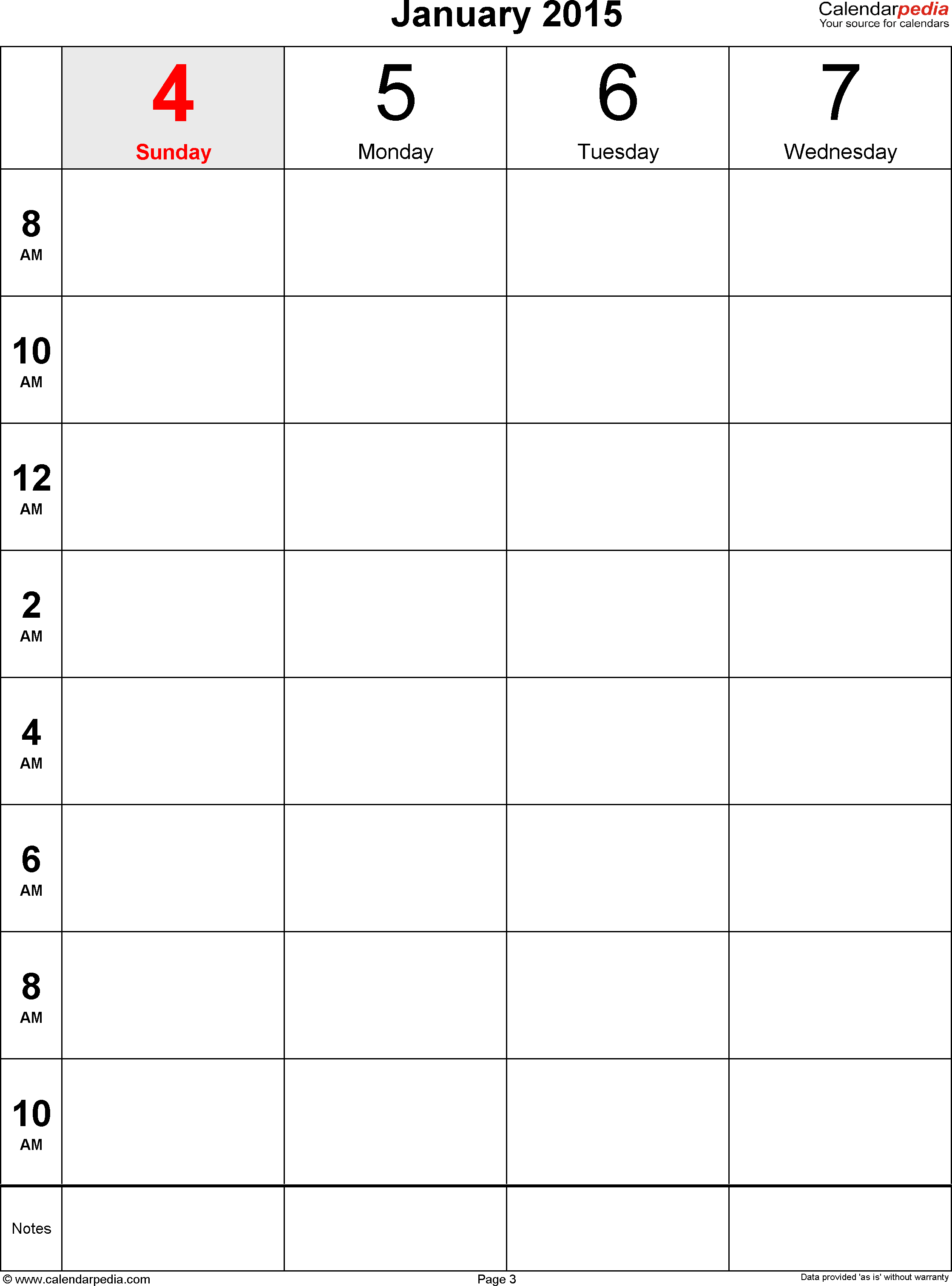 Weekly calendar 2015: template for Word version 12, portrait, 106 pages, 2 pages to a week (8 blocks of 2 hours per day, 8am to 11:59pm)