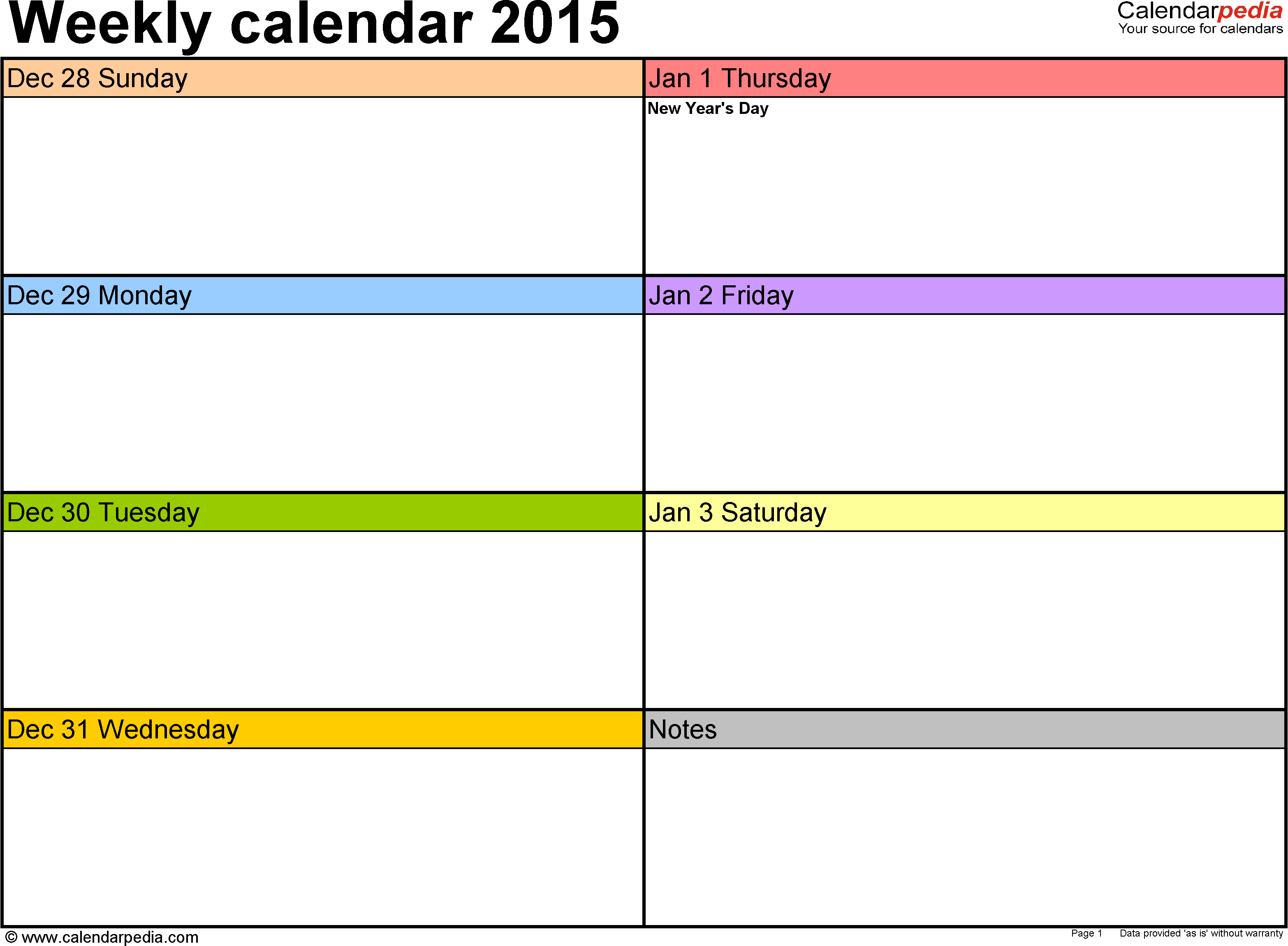 Weekly calendar 2015: template for Word version 6, landscape, 53 pages, in color, week divided into 2 columns (7 days and one field for notes)