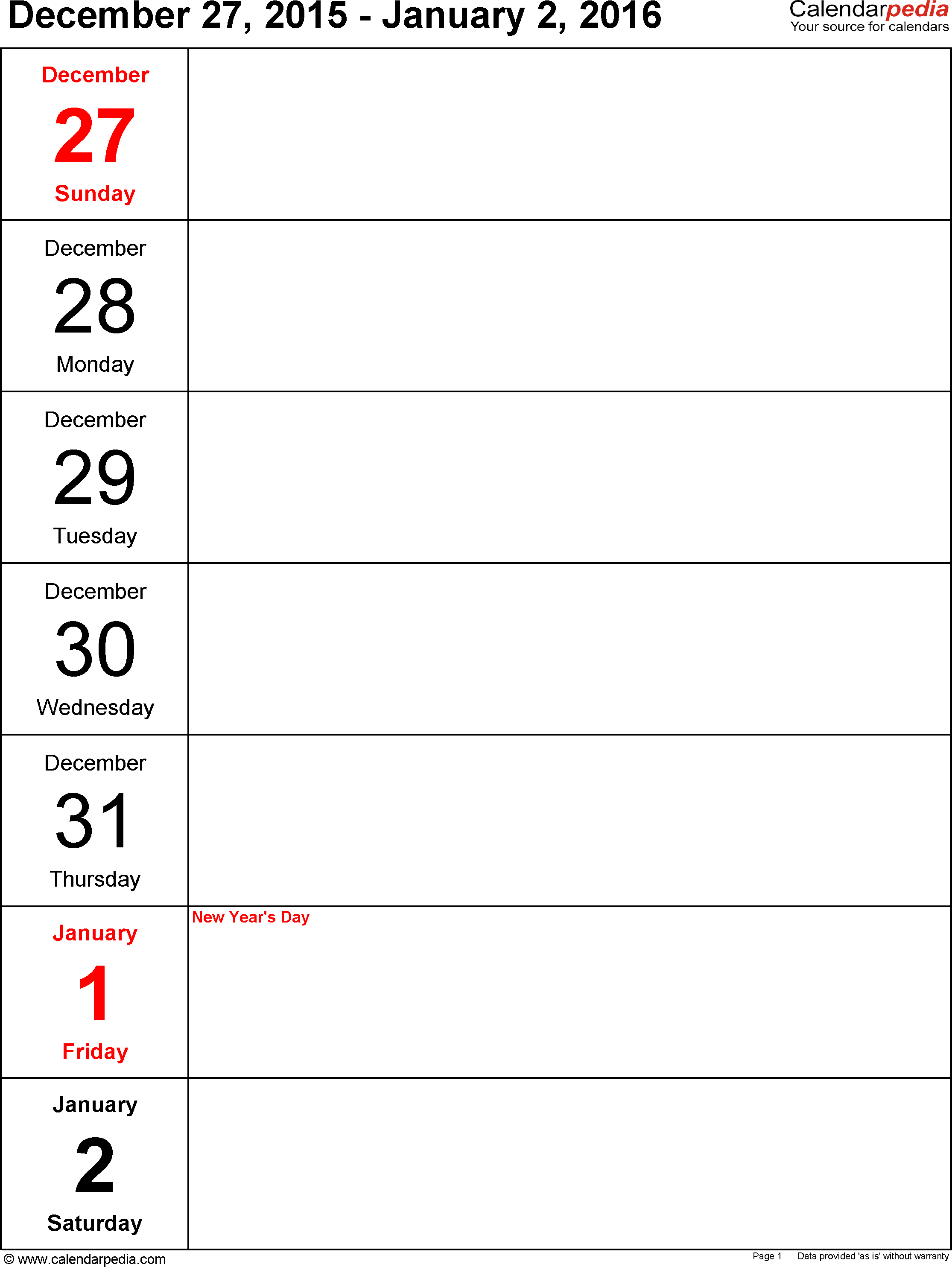 Weekly calendar 2016: template for Excel version 10, portrait, 53 pages, days vertically, great for a weekly diary