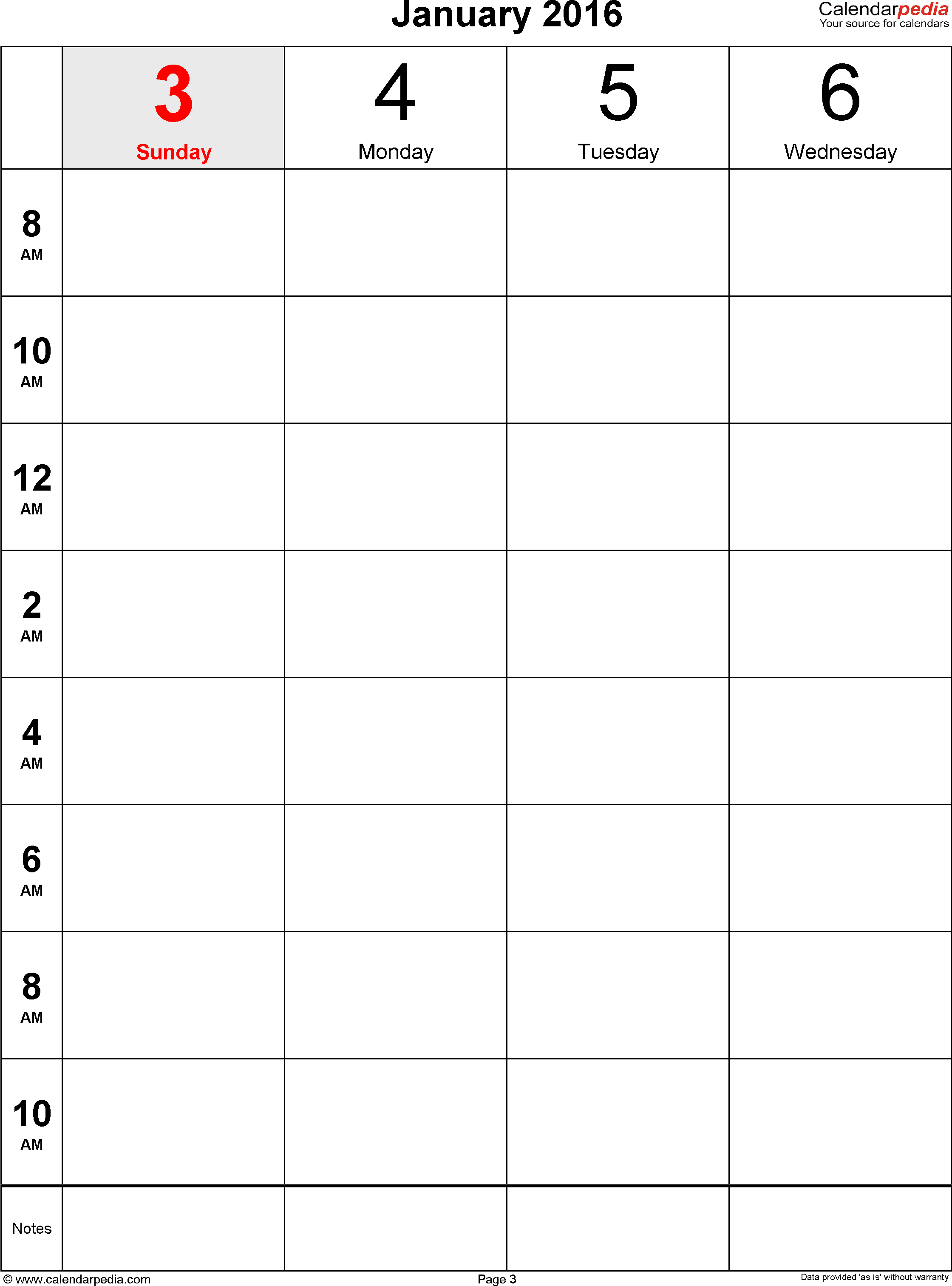 Weekly calendar 2016: template for Excel version 12, portrait, 106 pages, 2 pages to a week (8 blocks of 2 hours per day, 8am to 11:59pm)