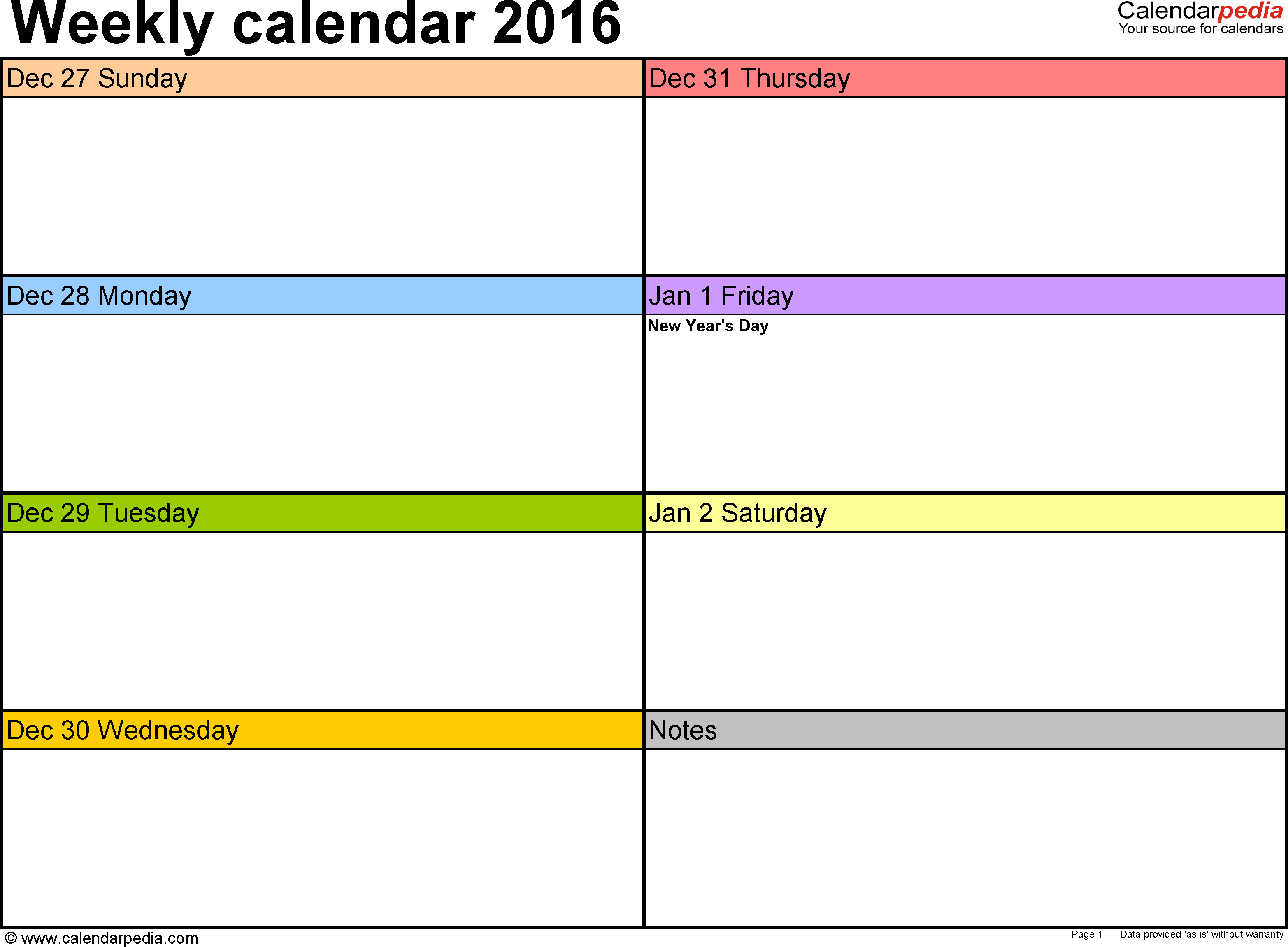 Weekly calendar 2016: template for Excel version 6, landscape, 53 pages, in color, week divided into 2 columns (7 days and one field for notes)