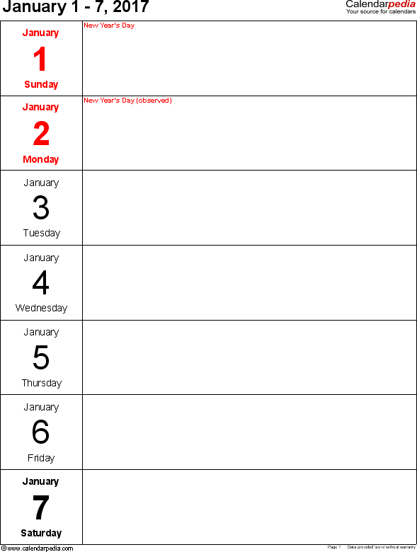 Weekly calendar 2017: template for Excel version 10, portrait, 53 pages, days vertically, great for a weekly diary