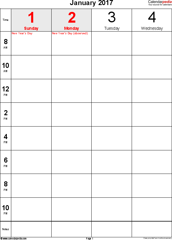 Weekly calendar 2017: template for Excel version 12, portrait, 106 pages, 2 pages to a week (8 blocks of 2 hours per day, 8am to 11:59pm)