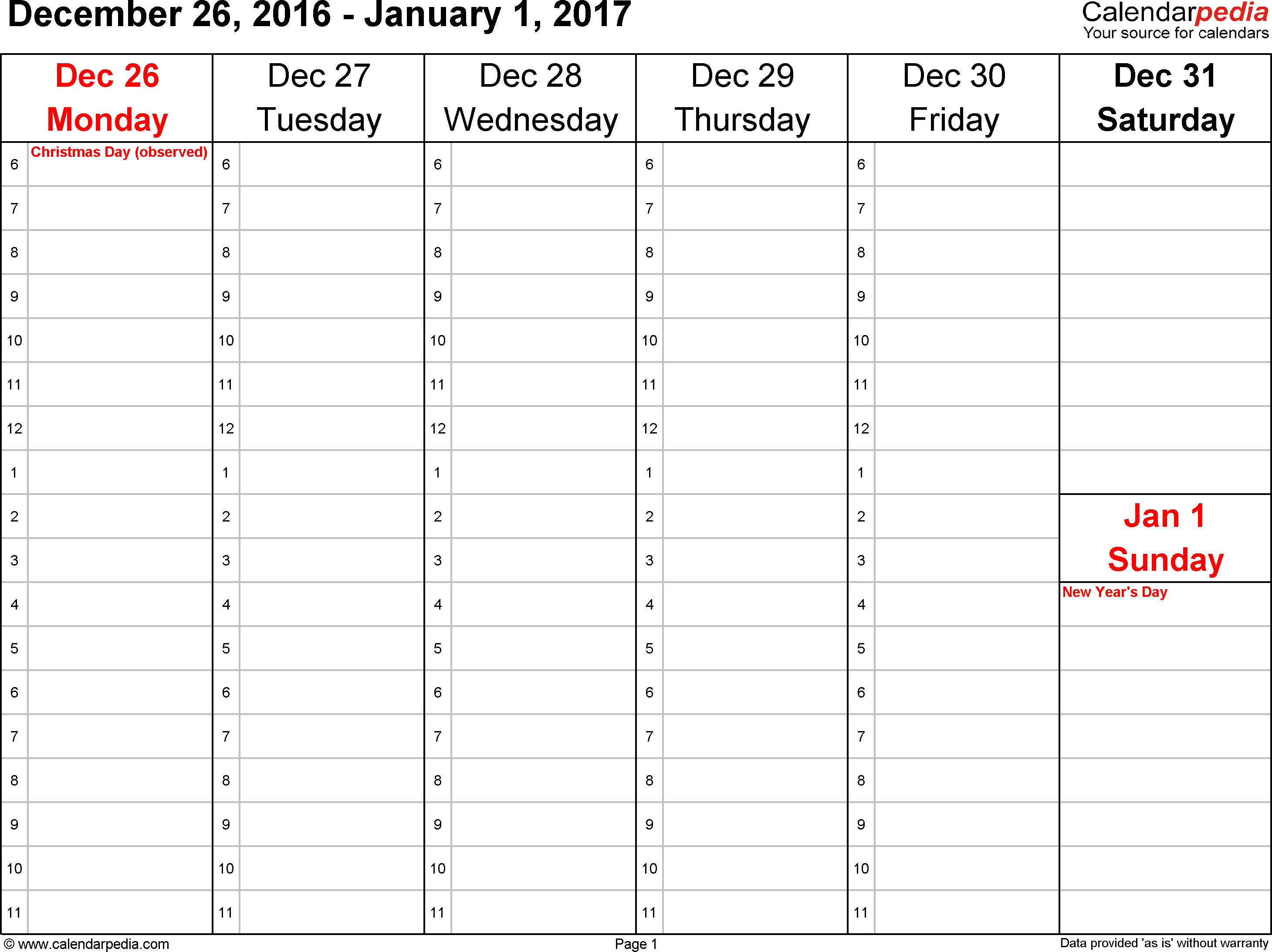 Weekly calendar 2017: template for PDF version 4, landscape, 53 pages, Saturday & Sunday share one column