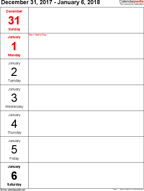 Weekly calendar 2018: template for Excel version 10, portrait, 53 pages, days vertically, great for a weekly diary