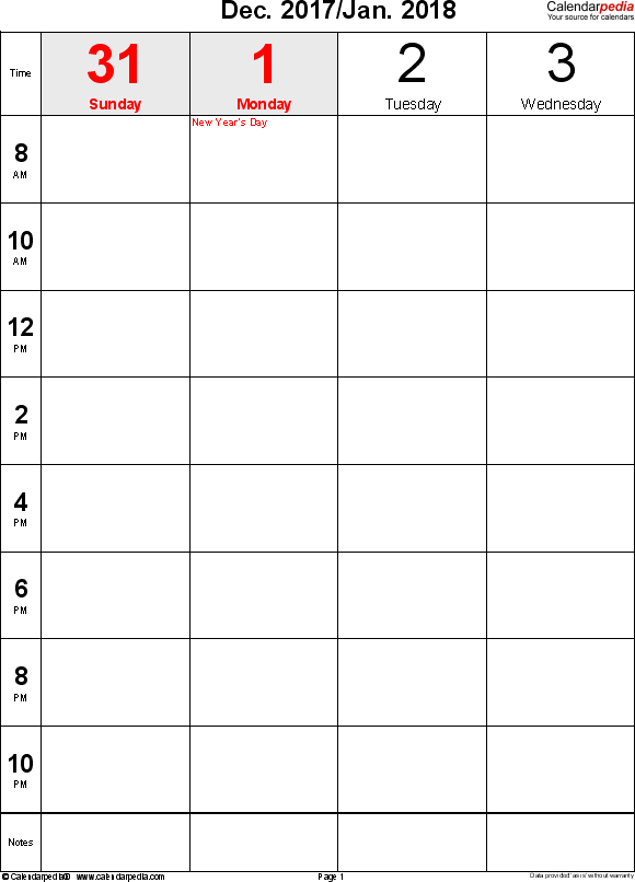 Weekly calendar 2018: template for Excel version 12, portrait, 106 pages, 2 pages to a week (8 blocks of 2 hours per day, 8am to 11:59pm)