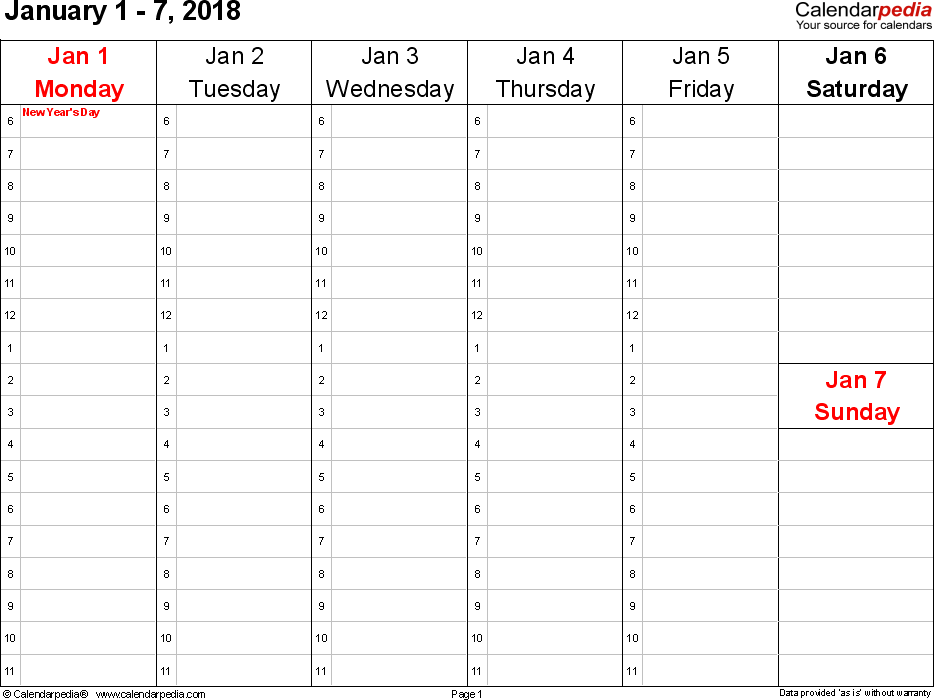 Weekly calendar 2018: template for Word version 4, landscape, 53 pages, Saturday & Sunday share one column
