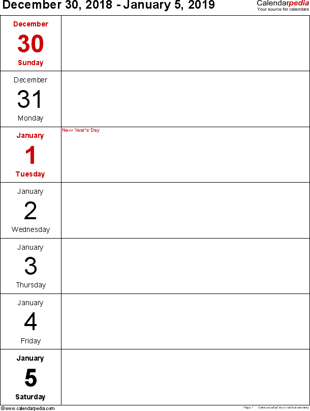 Weekly calendar 2019: template for Excel version 10, portrait, 53 pages, days vertically, great for a weekly diary