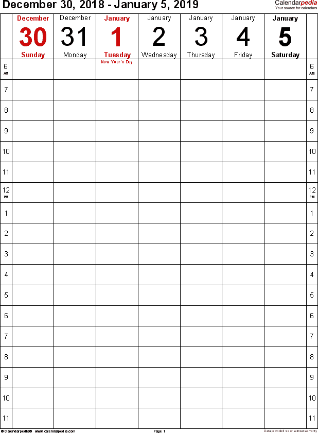 Weekly calendar 2019: template for Excel version 9, portrait, 53 pages, simple time management layout (18 hours per day, 6am to 11:59pm)