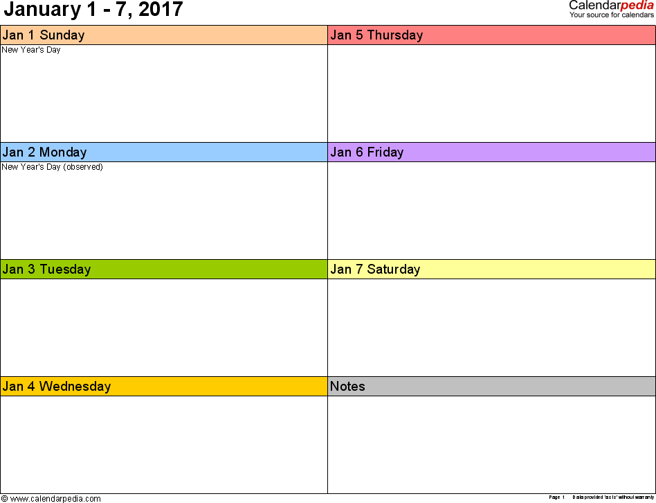 Weekly calendar 2017: template for Excel version 6, landscape, 53 pages, in color, week divided into 2 columns (7 days and one field for notes)