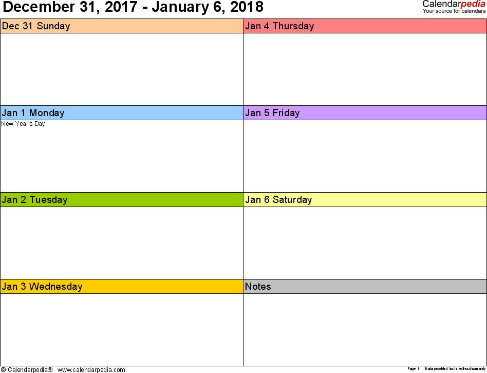 Weekly calendar 2018: template for Excel version 6, landscape, 53 pages, in color, week divided into 2 columns (7 days and one field for notes)