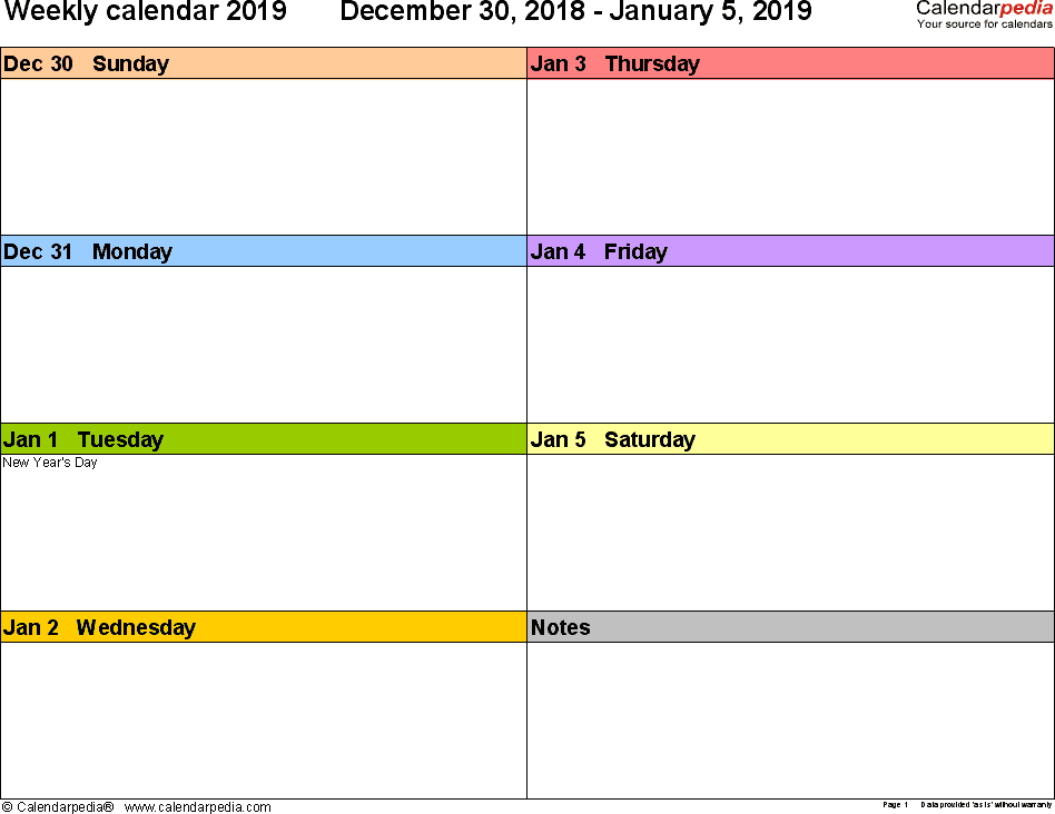 Weekly calendar 2019: template for Excel version 6, landscape, 53 pages, in color, week divided into 2 columns (7 days and one field for notes)