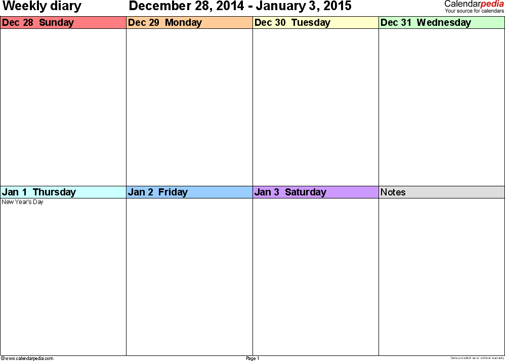Weekly calendar 2015: template for Excel version 7, landscape, 53 pages, 'rainbow calendar', week divided into 4 columns (7 days and one field for notes), great for a weekly diary