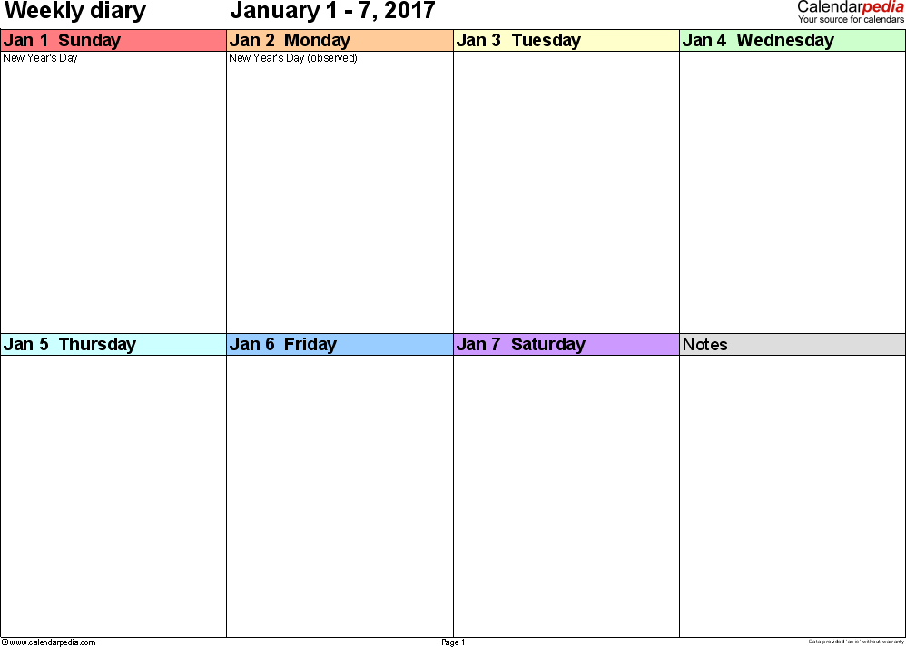 Weekly calendar 2017: template for Excel version 7, landscape, 53 pages, 'rainbow calendar', week divided into 4 columns (7 days and one field for notes), great for a weekly diary