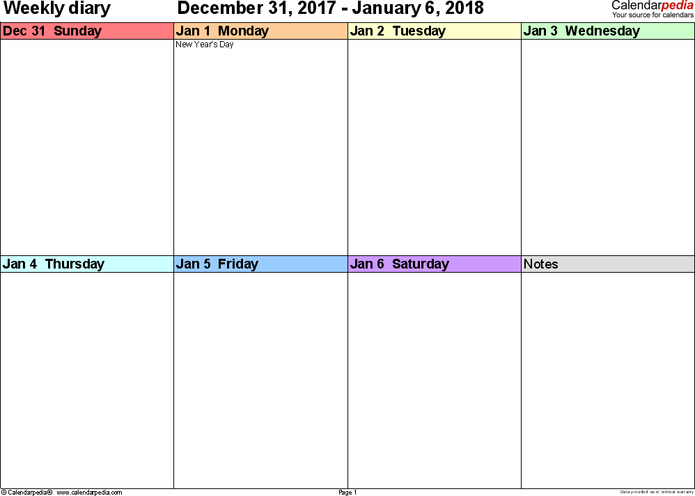 Weekly calendar 2018: template for Excel version 7, landscape, 53 pages, 'rainbow calendar', week divided into 4 columns (7 days and one field for notes), great for a weekly diary