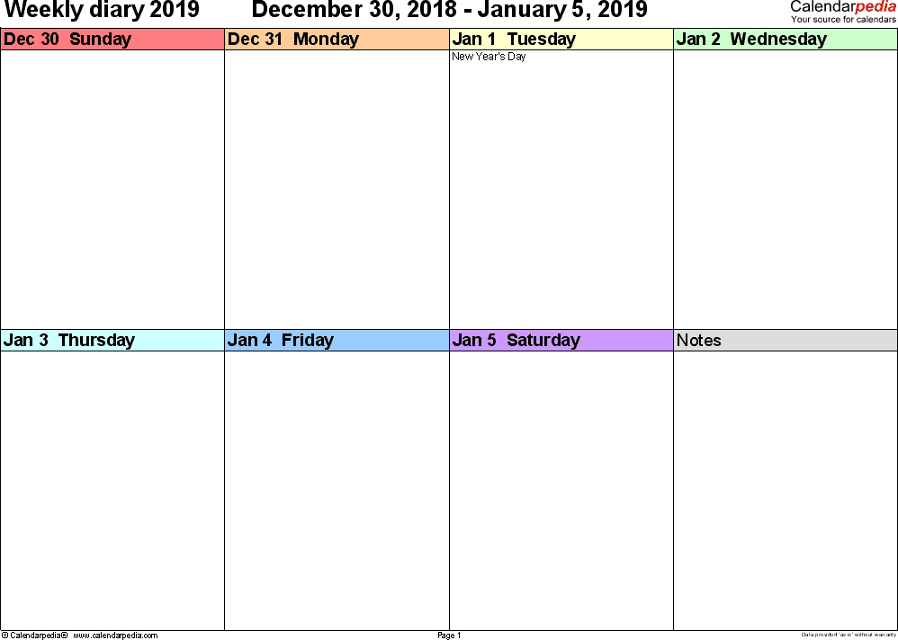 Weekly calendar 2019: template for PDF version 7, landscape, 53 pages, 'rainbow calendar', week divided into 4 columns (7 days and one field for notes), great for a weekly diary