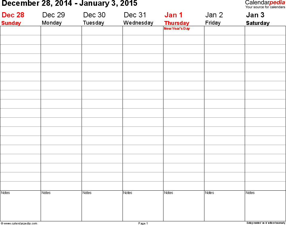 Download Weekly calendar 2015: template for Excel version 3, landscape, 53 pages, no time markings for flexible use