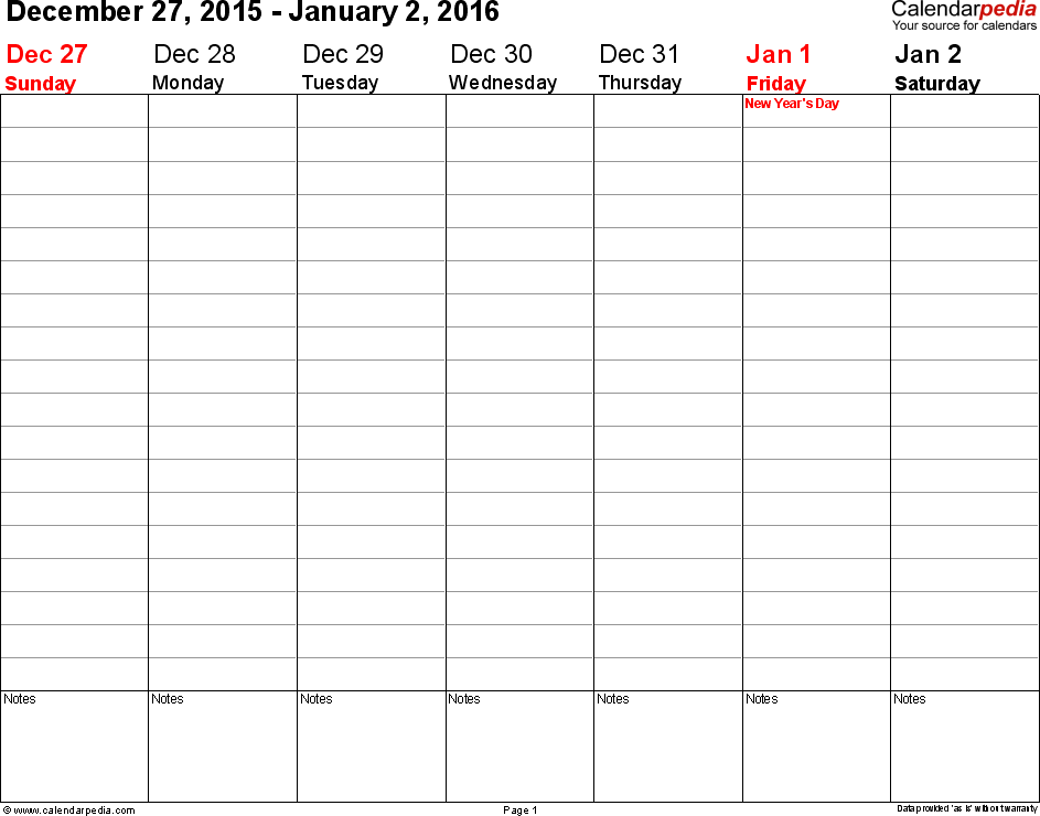 Weekly calendar 2016: template for Excel version 3, landscape, 53 pages, no time markings for flexible use