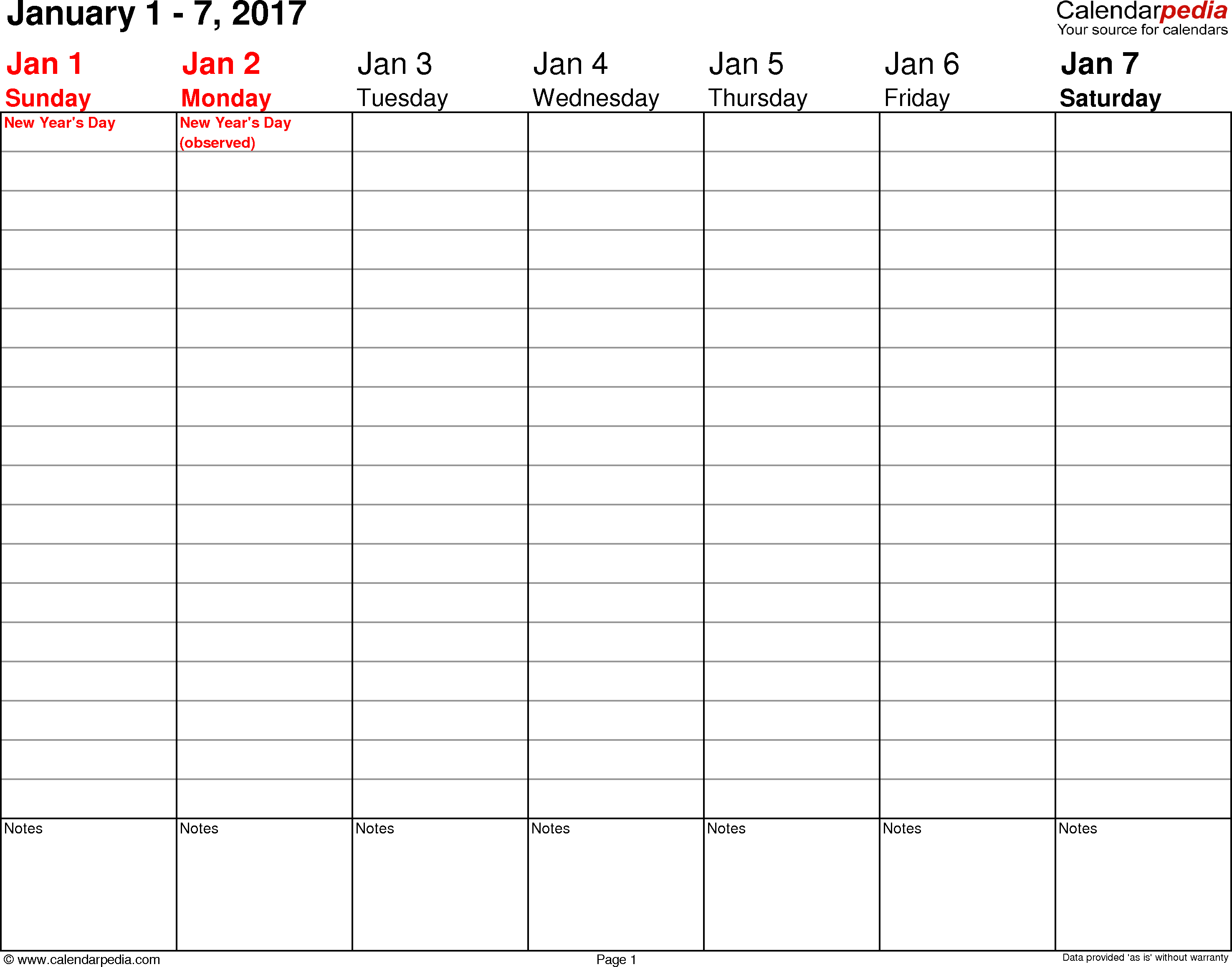 Weekly calendar 2017: template for Excel version 3, landscape, 53 pages, no time markings for flexible use