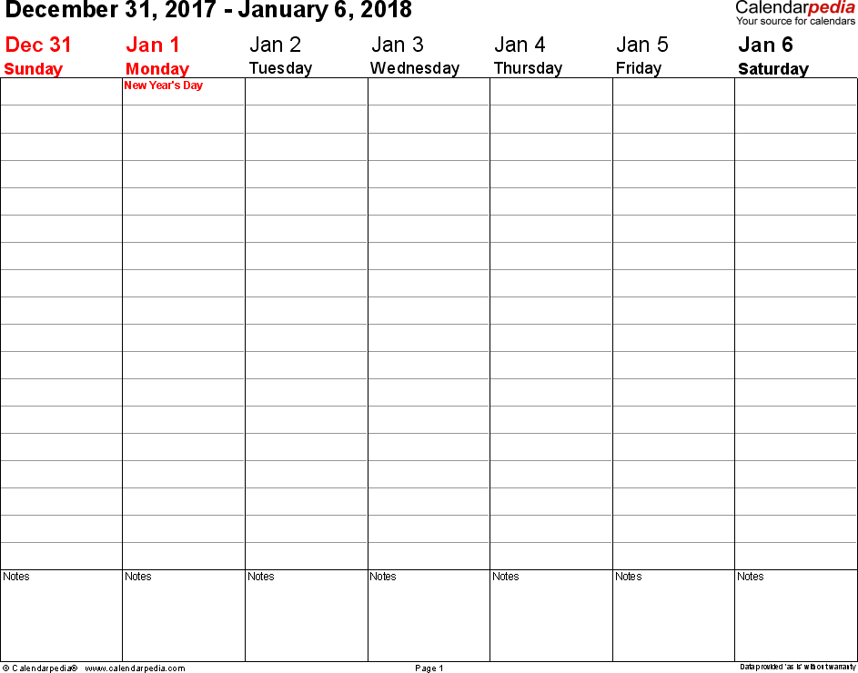 Weekly calendar 2018: template for Word version 3, landscape, 53 pages, no time markings for flexible use