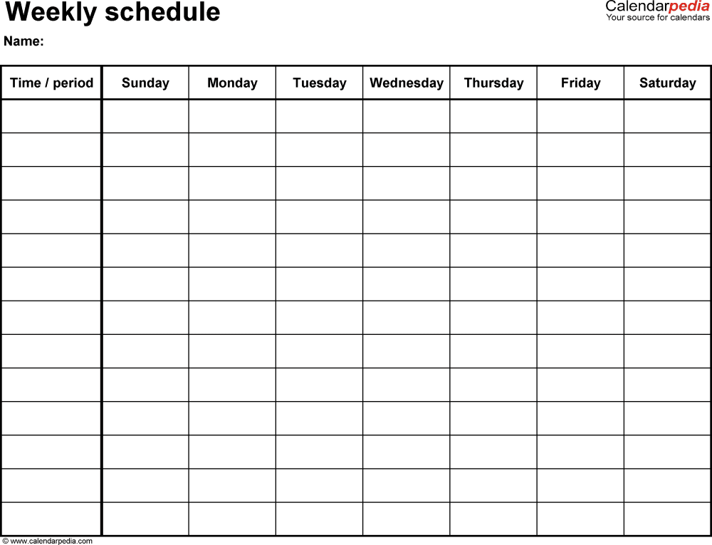 Weekly Calendar Monday Through Sunday Weekly schedule template for