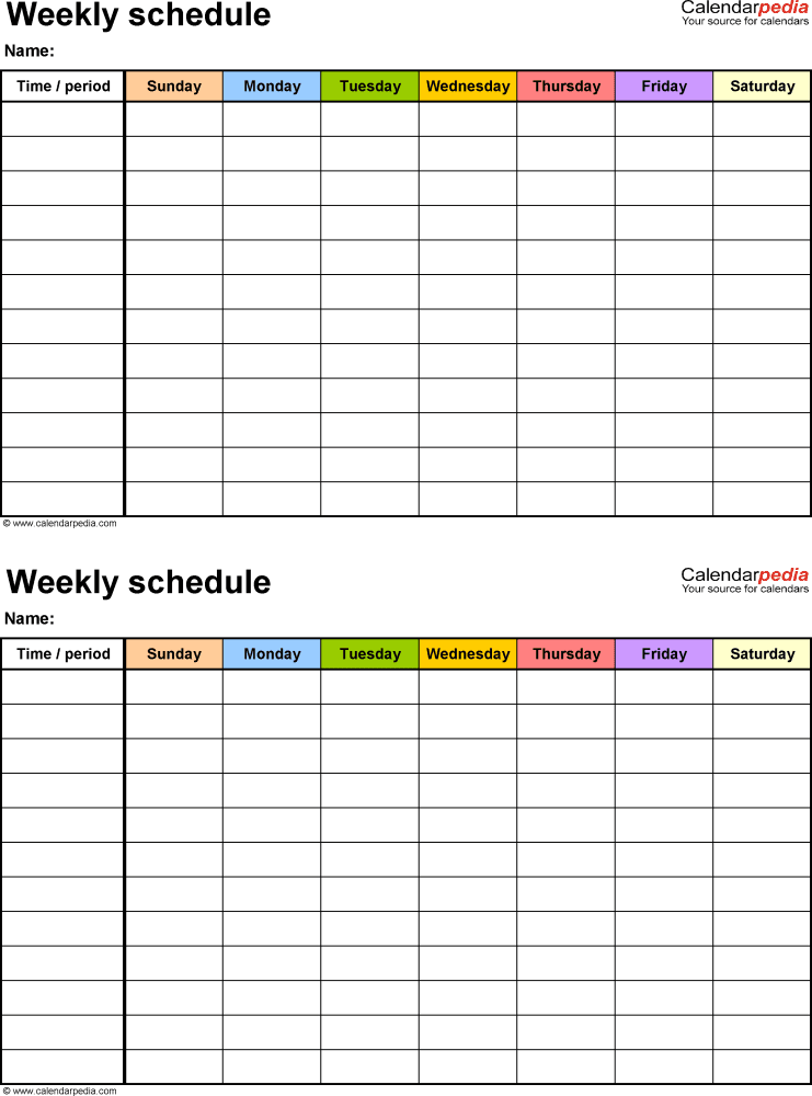 Free Weekly Work Schedule