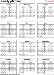 Download  template 31: Yearly planner template for Microsoft Word, portrait, 1 page, year at a glance