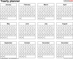 Download  template 14: Yearly planner template for Microsoft Word, landscape, 1 page, year at a glance