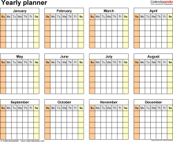 Download  template 15: Blank yearly planner template for Microsoft Word, landscape, 1 page, year at a glance