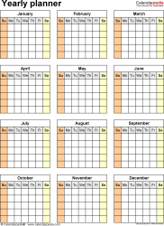Download  template 32: Blank yearly planner template for Microsoft Word, portrait, 1 page, year at a glance