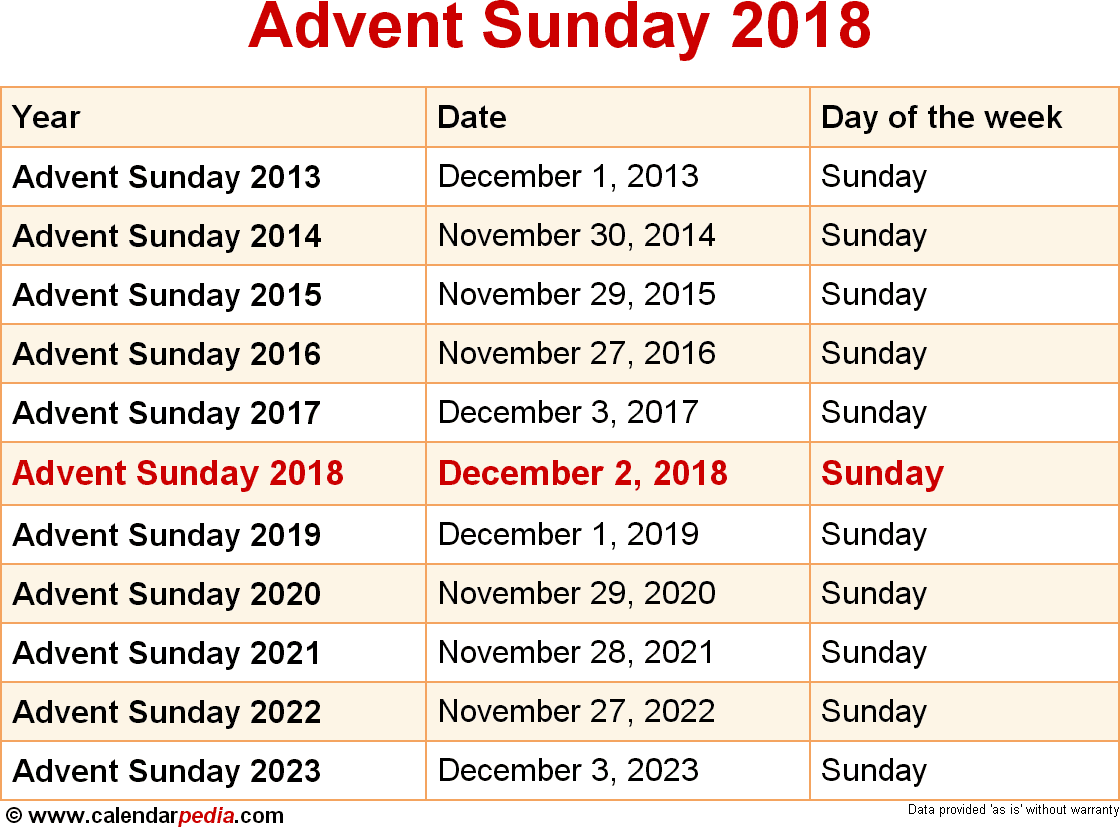 when is advent sunday 2018 2019 dates of advent sunday. Black Bedroom Furniture Sets. Home Design Ideas