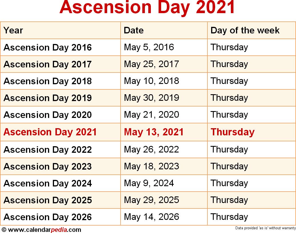 Ascension Parish School Calendar 2021-22 When is Ascension Day 2021?