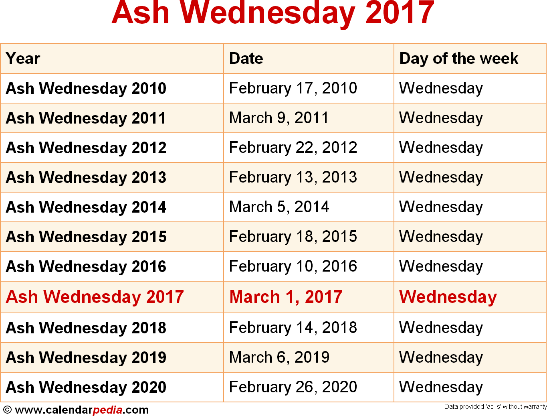 Ash Wednesday 2017