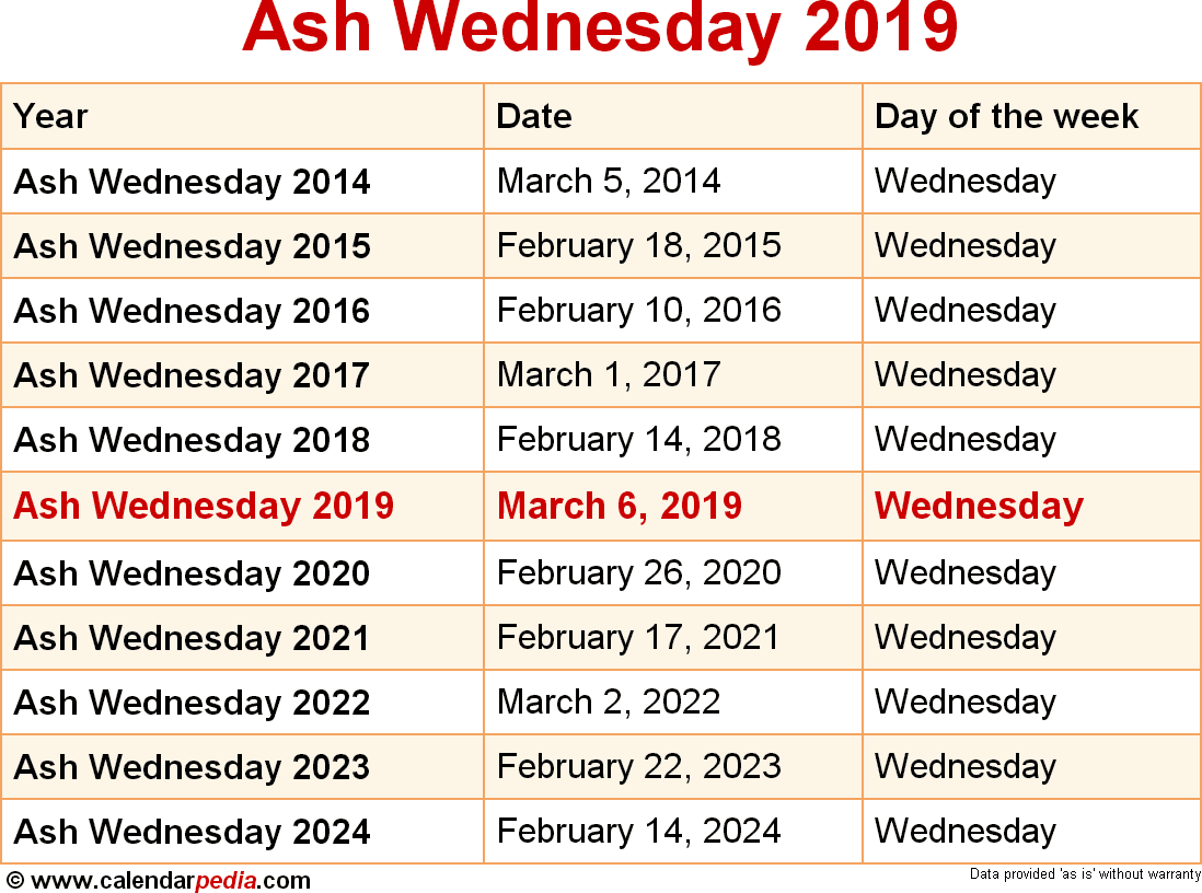 dates for ash wednesday from 2014 to 2024