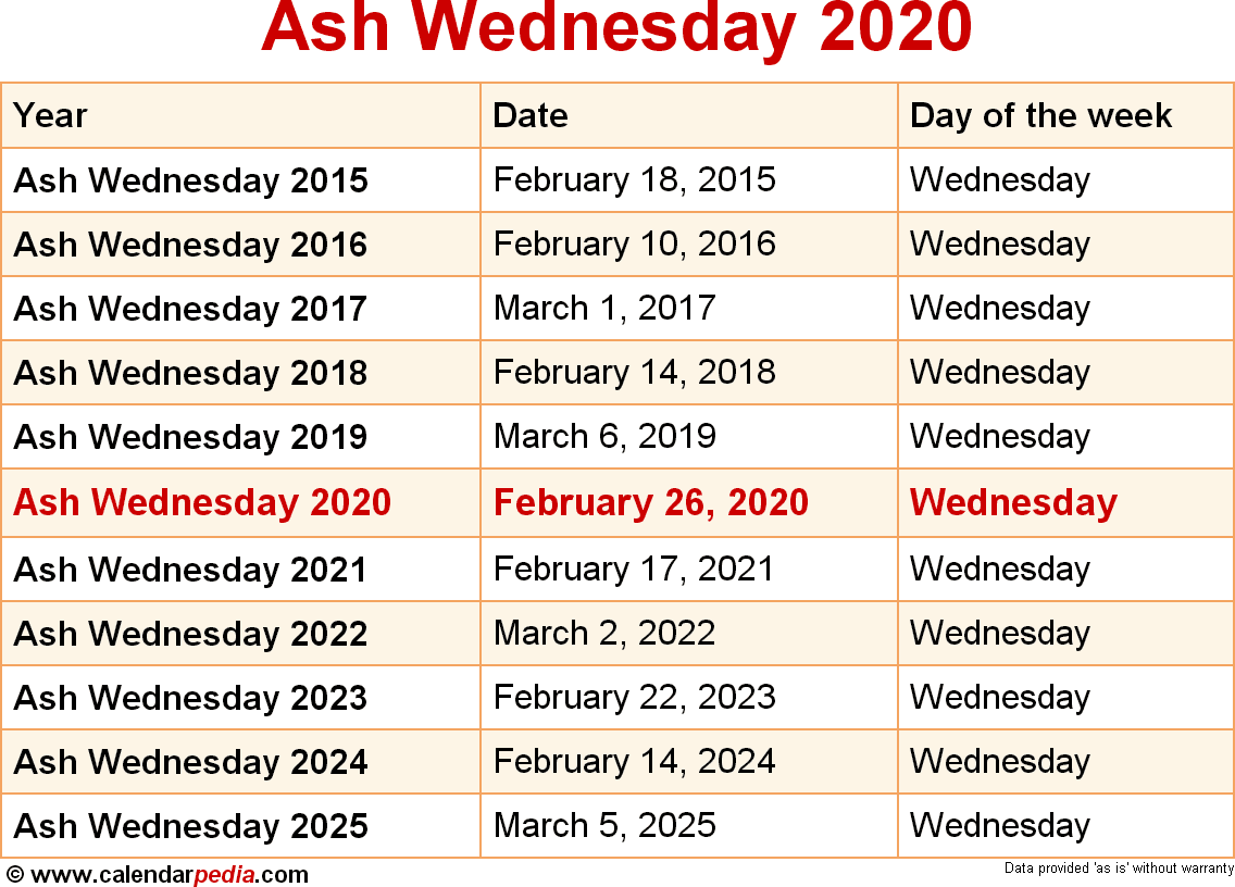 Lent 2020 Calendar When is Ash Wednesday 2020 & 2021? Dates of Ash Wednesday