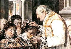 Ashes are sprinkled on the top of the head in this 1881 Polish painting.