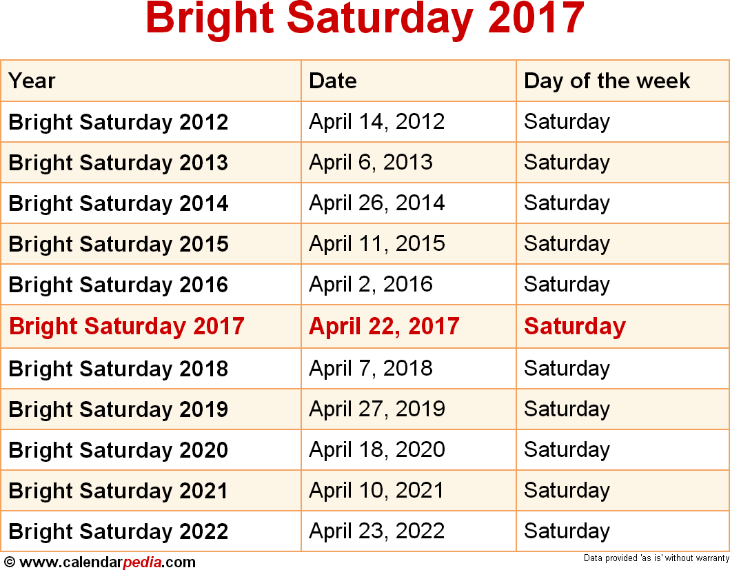 Bright Saturday 2017