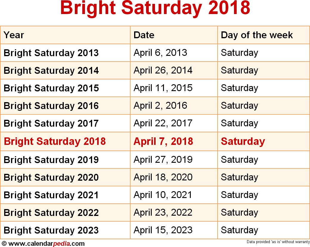 Bright Saturday 2018