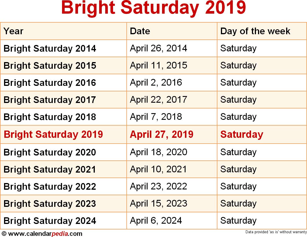 Bright Saturday 2019