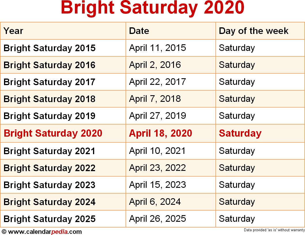 Bright Saturday 2020