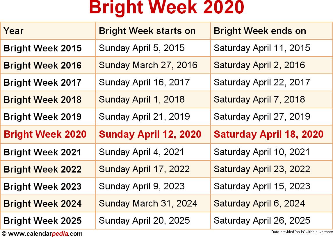 Bright Week 2020